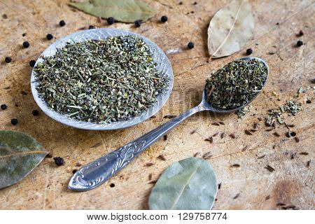 green spice mixture on the spoon and a plate on a wooden background