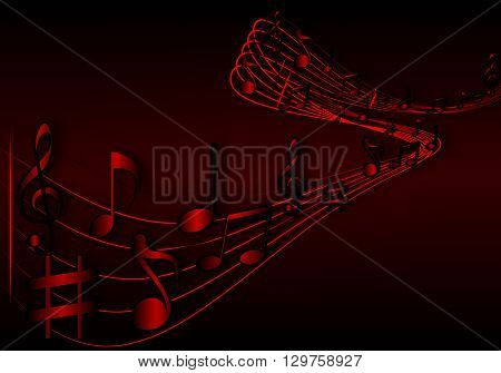 Background of music notes, vector art illustration.