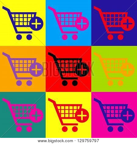 Shopping Cart and add Mark Icon. Pop-art style colorful icons set.