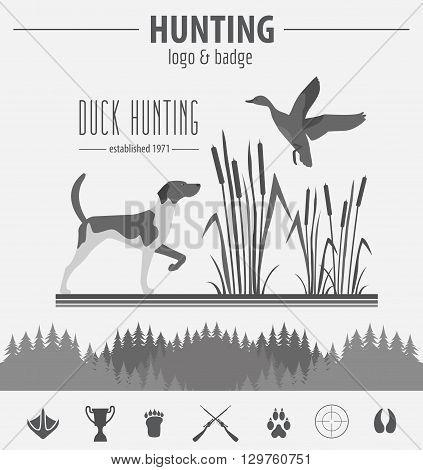 Hunting logo and badge template. Dog hunting, equipment.  Flat design. Vector illustration