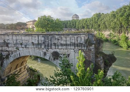 broken bridge in Rome an ancient remnant of the Roman Empire