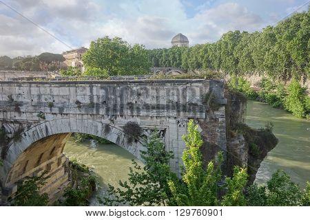 broken bridge in Rome an ancient remnant of the Roman Empire