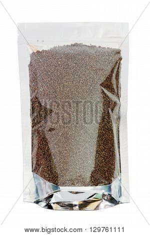 Perilla herb seed in packaging foil zip bag. Isolated on white with clipping paths.