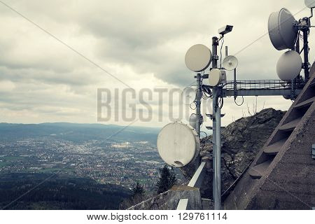 Filtered Security Camera With Transmitters And Aerials On Telecommunication Tower
