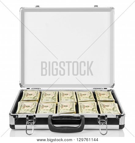 Open suitcase with dollars isolated on white background.