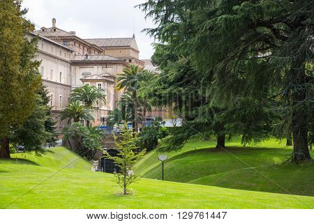 ROME, ITALY - APRIL 8, 2016: Gardens of Vatican
