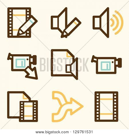 Audio video web icons, sound and cinema, music and player