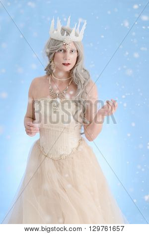 portrait of snow queen with ice crown