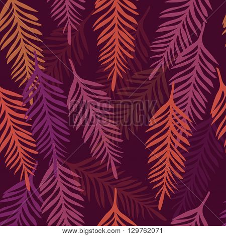 Tropical background of palm leaves. Seamless tropical palm leaves backdrop. Seamless summer pattern. Tropical Pattern. Vector Summer Pattern. Palm Leaves and Branches Pattern. Neon Vintage Style.