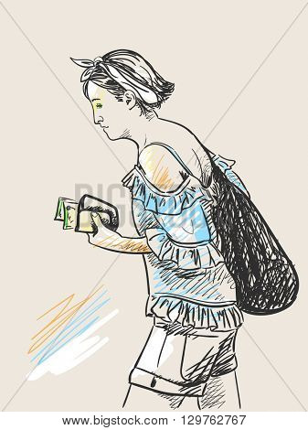 Sketch of woman walking with purse in hand, Hand drawn illustration