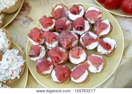 Tartlets With Cheese And Slices Of Salmon