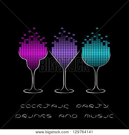 Cocktail Party template with glasses and equalizer. Musical Flyer Night Party poster or Club Invitation design. Disco background.