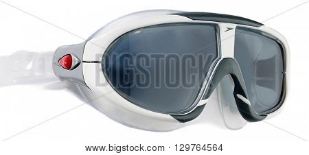 Ankara, Turkey - February 19, 2016: Product shot of a Speedo swimming goggles isolated on white background.