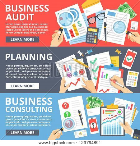 Business audit, planning, business consulting flat illustration set. Creative flat design elements and concepts for web sites, web banner, printed materials, infographics. Modern vector illustration