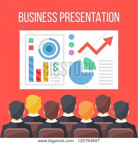 Business presentation flat illustration. Business conference, business meeting, seminar concepts. Sitting businessmen and board with infographics, data, chart. Creative flat design vector illustration