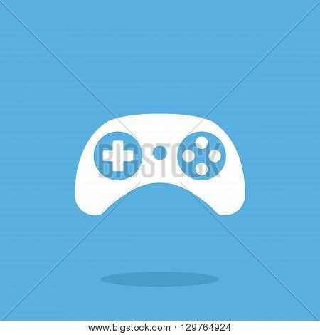 Vector gamepad icon. White game controller graphic design web icon, gamepad pictogram vector illustration isolated on blue background