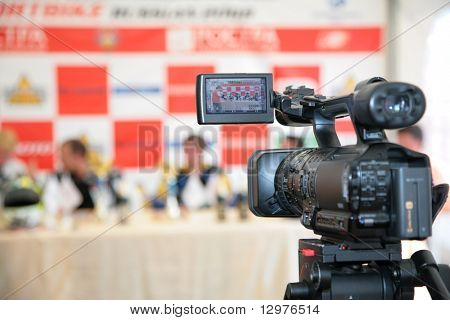 MOSCOW - JUNE 22: Videocamera opposite to jury on The second stage of the Championship of Russia Ju