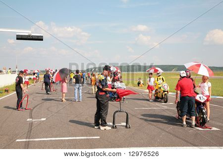 "MOSCOW - JUNE 22: Before beginning of motorcycle competitions on The second stage of the Championship of Russia June 22, 2008 in autodrome ""Miachkovo"", Moscow."