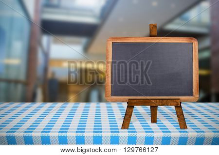 Interior of the building against image of a blackboard
