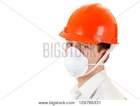 Sad Young Man in Hard Hat Isolated on the White Background