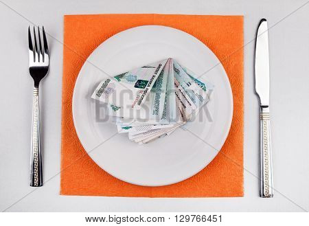 Russian Rubles in the Plate on the Table