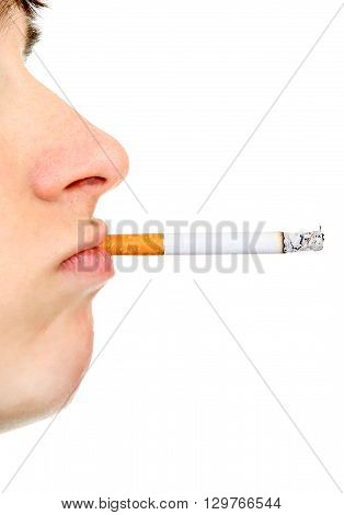 Side view of Young Man Face with cigarette closeup on the White Background