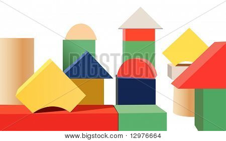 wood toy cubes vector