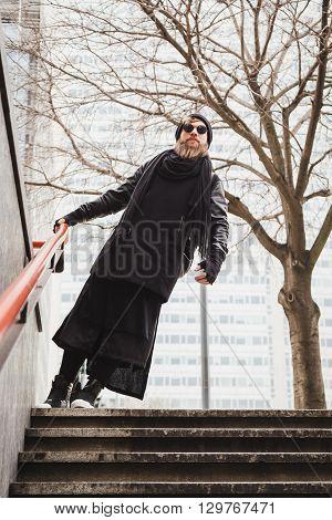 Stylish Bearded Man Posing In The Street