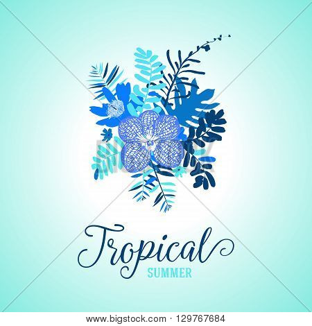 Vector illustration with leafs and foliage inspired by tropical nature and plants like orchids and ferns in multiple blue colors. Card template with floral design, exotic flowers, leafs and branches