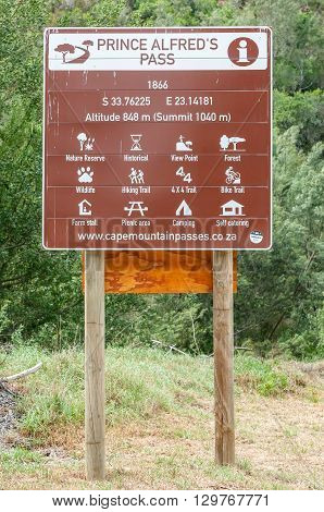 DE VLUGT SOUTH AFRICA - MARCH 5 2016: Information board of the Prince Alfred Pass at De Vlugt. At 68 km it is the longest mountain pass in South Africa