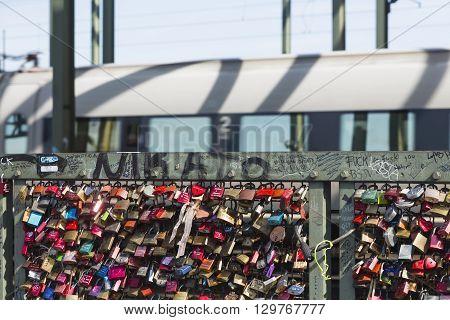 Love Padlocks On The Hohenzollern Bridge In Cologne, Editorial