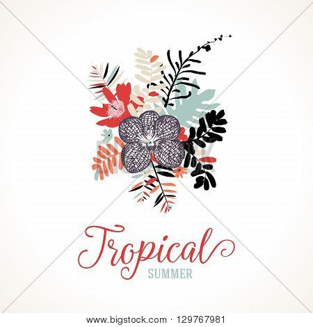 Vector illustration with leafs and foliage inspired by tropical nature and plants like orchids and ferns in vintage colors. Card template with floral design, exotic flowers, leafs and branches