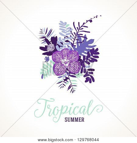 Vector illustration with leafs and foliage inspired by tropical nature and plants like orchids and ferns in purple and mint colors. Card template with floral design, exotic flowers, leafs and branches
