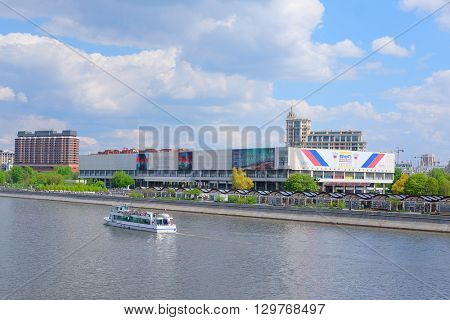 Moscow, Russia - May, 6, 2016: landscape with the image of Moscow river embankment in Moscow, Russia and the house of Tretyakovsky gallery on Krimsky Val