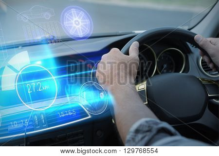 Technology car interface against man using satellite navigation system