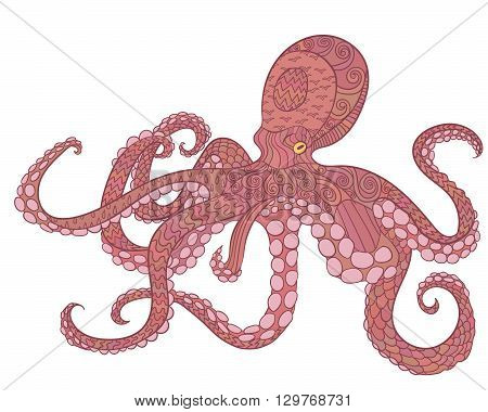 Octopus with high details. Colored hand drawn doodle oceanic animal. Sketch for tattoo, poster, print, t-shirt in zen tangle style. Vector.