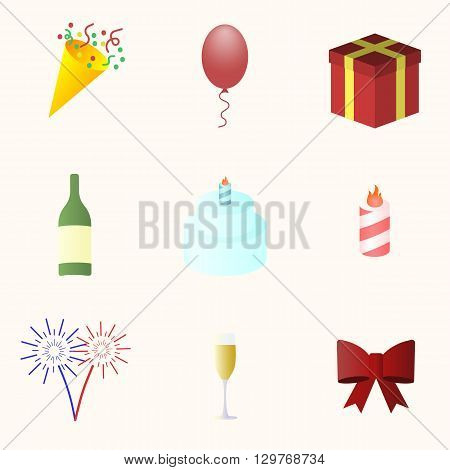 Icon set for holiday season. Vector illustration with red gift box, candles whit flame, fireworks, balloon, slapstick, Birthday cake.