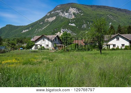 Typical french village between mountains in Alpes France