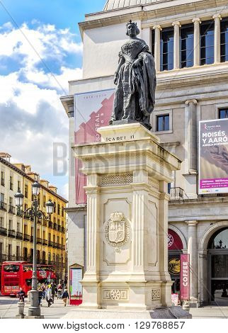 Isabel Ii Sculpture In Front Of Theater Real  In Madrid.