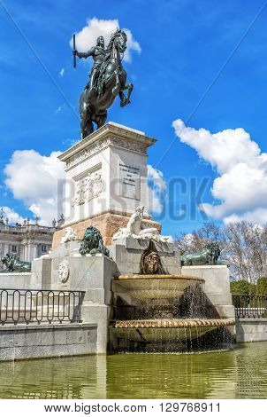 Monument of Philip IV of Spain in Plaza de Oriente in Madrid Spain.