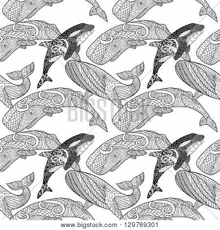 Detailed seamless pattern with whales. Anti stress coloring page. Black white hand drawn zen doodle oceanic animals. Endless texture can be used for wallpaper, pattern fills, wrapping paper. Vector.