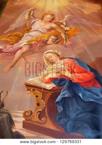 ZIEMETSHAUSEN, GERMANY - JUNE 09: Annunciation of Virgin Mary, altarpiece in Maria Vesperbild Church in Ziemetshausen, Germany on June 09, 2015.