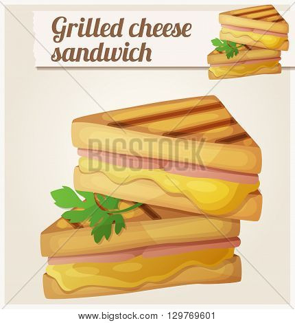 Grilled cheese sandwich. Detailed vector icon. Series of food and drink and ingredients for cooking.