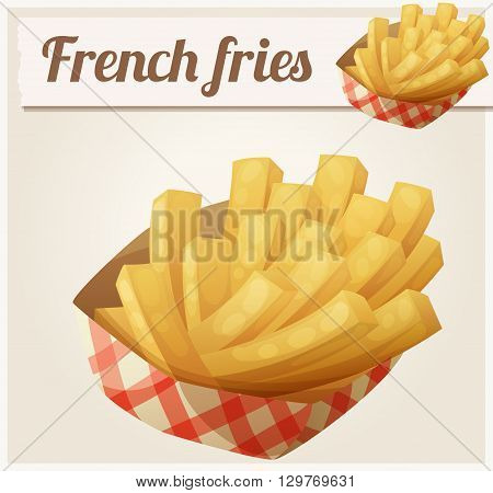 French fries in the paper basket. Detailed vector icon. Series of food and drink and ingredients for cooking.
