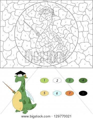Cartoon Magister Dragon With A Pointer. Color By Number Educational Game For Kids