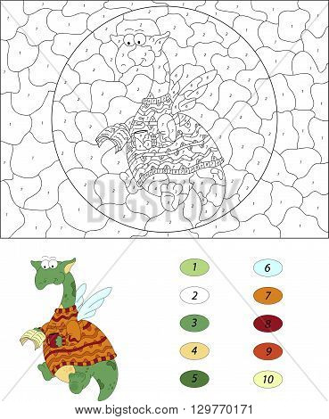 Cartoon Dragon Reads A Book. Color By Number Educational Game For Kids