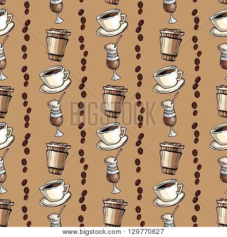 Seamless pattern background.Vertical striped of cup of hot espresso, coffee to go and coffee beans. For fabric packaging, wrapping paper, menu, coffee shop, cafeteria and restaurant interior design.