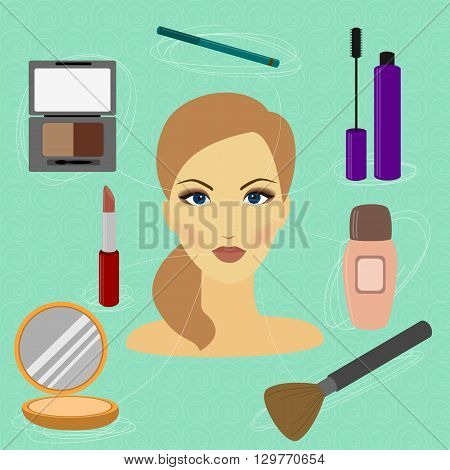 How to make a beautiful woman with makeup cosmetics set