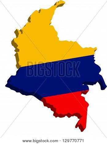 A map of Colombia 3D with flag on white background