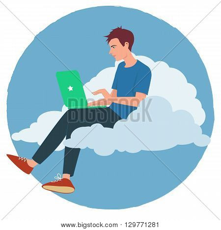 Young man working on a laptop sitting on a cloud